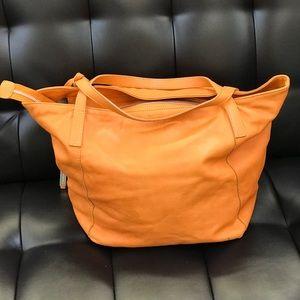 Orange soft leather shoulder bag